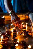 Burning candles in the Indian temple. Diwali -the festival of lights.