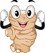Mascot Illustration Featuring a Ginger Flexing its Muscles