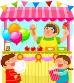 stock photo of stall  - kids buying sweets from a festive candy stall - JPG