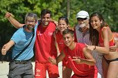 MOSCOW, RUSSIA - JULY 20, 2014: Team Spain celebrates the 5th place in ITF Beach Tennis World Team C