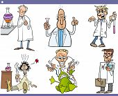 Scientists Characters Cartoon Set