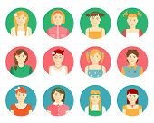 Vector set of girls and young women avatars
