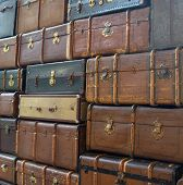 Wall of suitcases