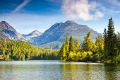 Fantastic mountain lake in National Park High Tatra. Strbske pleso, Slovakia, Europe. Beauty world.