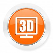 3d display orange computer icon