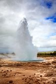 Eruption of Geysir - a large geyser in southwestern Iceland