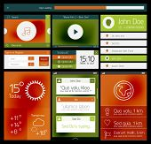 UI set of flat web design elements, icons and buttons for mobile apps and web design
