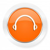 headphones orange computer icon