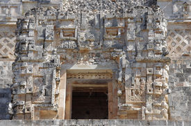image of quadrangles  - Detail of a wall in the Nunnery Quadrangle Uxmal Mexico  - JPG