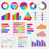 big collection of colorful vector diagrams and charts