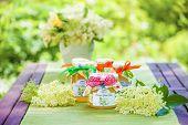 Glasses With Elderflower Flower Jelly