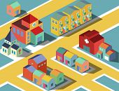 colorful Small neighborhood. vector illustration