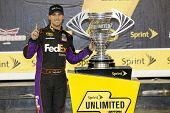 Daytona Beach, FL - Feb 15, 2014:  Denny Hamlin (11) wins the Sprint Unlimited at Daytona International Speedway in Daytona Beach, FL.