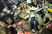 Ft. Worth, TX - Nov 02, 2014:  Brad Keselowski (2) and Jeff Gordon (24) fight after the AAA TEXAS 500 at Texas Motor Speedway in Ft. Worth, TX.