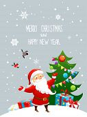 Santa Claus and christmas tree. Holiday illustration with place for text.