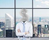 Businessman With Dollar Head