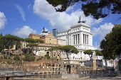 stock photo of emanuele  - views of the Capitol and the monument of Vittorio Emanuele II  - JPG