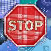 Mixed Media Stop Sign Illustration