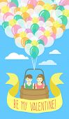 Couple in love flying on balloons
