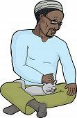 Handsome Man Petting Cat