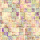 Abstract grunge background with retro design elements and different color patterns: blue; purple (violet); brown; yellow