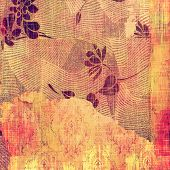 Vintage antique textured background. With different color patterns: yellow; purple (violet); orange; pink