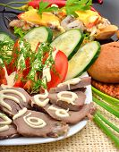 Sliced Pork Tongue With Mayonnaise, Sliced Tomatoes, Cucumbers, On White Plate. Appetizer