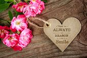 Постер, плакат: There Is Always A Reason To Smile Motivational Message
