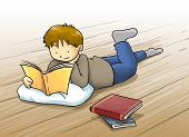 Kid reading a book cartoon illustration
