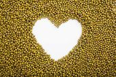 Mung Beans With Heart Shape Space