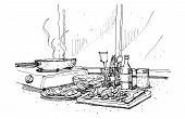 Cooking At Home Illustration