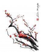 Sakura cherry blossom plum Chinese brush painting