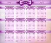 Calendar With Purple Christmas Bow And Ribbon On 2016 In Vector