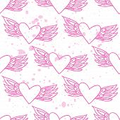 stock photo of backround  - Pink seamless pattern with hearts on a backround - JPG
