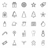 Christmas Line Icons On White Background