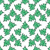 Seamless pattern with Christmas trees on a white background.