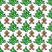 Seamless pattern with Christmas trees and gingerbread cookies on a white background.