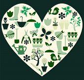 Gardening And Spring Symbols Filled Heart- Illustration