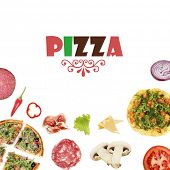 Tasty pizzas and ingredients with space for text isolated on white