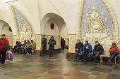 Metro station Taganskaya, Russia. Moscow Metro carries over 7 million pas