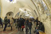 MOSCOW, RUSSIA 11.11.2014. metro station Taganskaya, Russia. Moscow Metro carries over 7 million pas