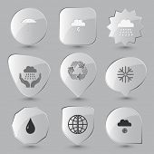 Weather set. Vector glass buttons.