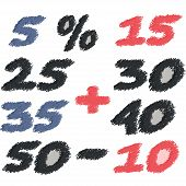 Set of different numbers of discounts. Pencil scribble