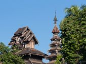 picture of yangon  - Detail of classic wooden Buddhist temple in Yangon Myanmar - JPG