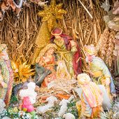 stock photo of mary  - nativity scene and Christmas Crib with figures  - JPG
