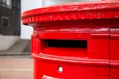 pic of postbox  - a pretty traditional Red london postbox in the street - JPG