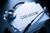 Case History And Stethoscope In Blue