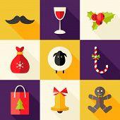 9 Christmas Flat Icons Set 2