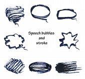 hand drawn bubble speech and stroke