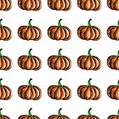 Vector seamless background with pumpkin.